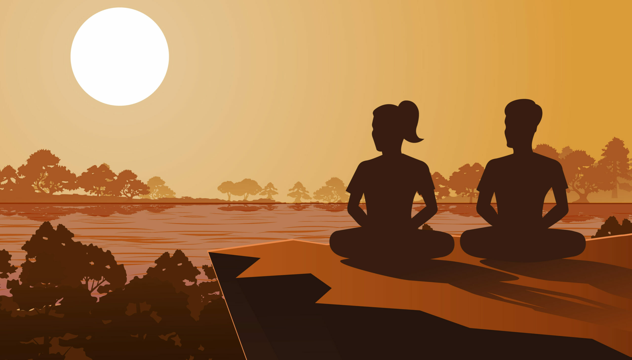 Arte do contentamento. Duas pessoas a meditarem ao fim do dia.