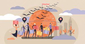Ilustração vectorial da imigração. Conceito de fuga de pessoas em situação de crise